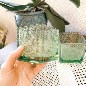Set of 2 Square Green Palm Leaf Candle Holders